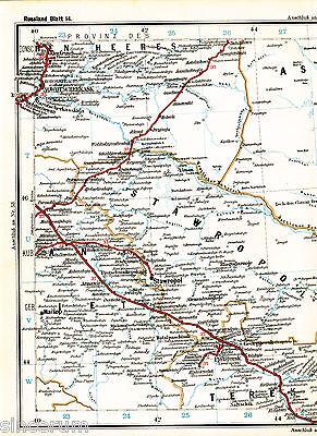 Astrachan Астрахань 1910 orig Eisenb.-Atlaskarte Stavropol Khasavjurt Pyatigorsk