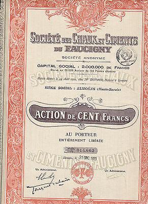 Societe des Chaux et Ciments de Faucigny-Actionv.1923-Samoens