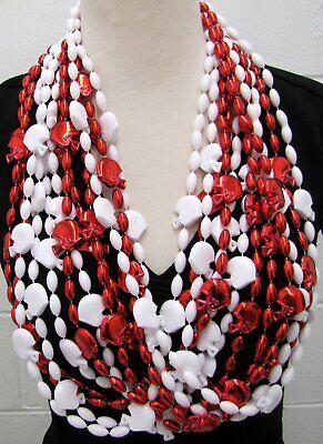 White Mardi Gras Beads (Football Helmet Red White Mardi Gras Beads 1 Dozen 36