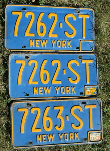 Lot of 3 NY New York State 1960s 1970s Blue License Plates