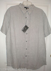 Murano 100% linen Men Shirt Shirts Button Front Short Sleeve Fitted S M L XL