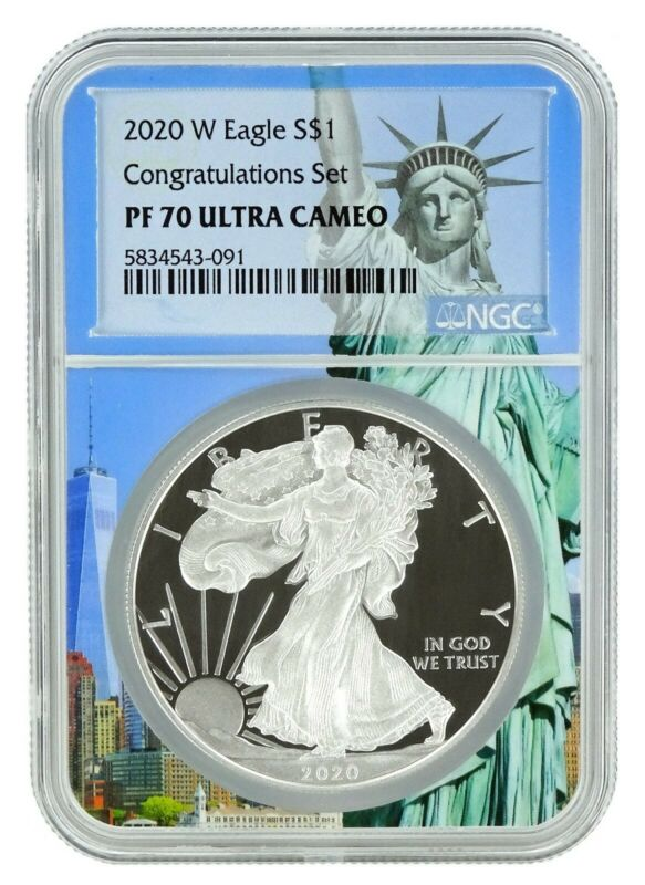 2020 W Congratulations Set Silver Eagle Proof NGC PF70 UC Statue Of Liberty Core