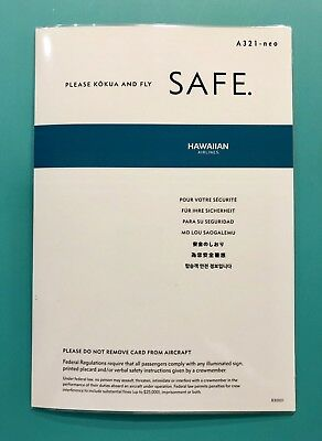 Hawaiian Airlines Safety Card   Airbus 321
