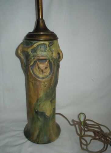 RARE Vtg Weller Pottery Woodcraft FACTORY LAMP Owl in Baldwin Apple Tree *READ*