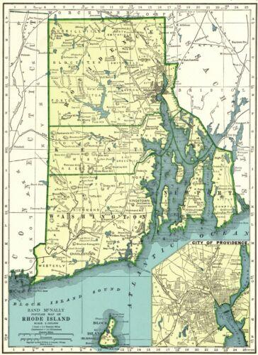 1942 Antique RHODE ISLAND State Map Vintage Map of Rhode Island 8006