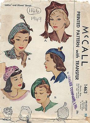 1949 Vintage Sewing Pattern HAT S23