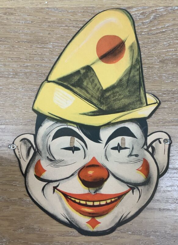 "VINTAGE 1930s PAPER CLOWN HALLOWEEN MASK MADE IN JAPAN GREAT GRAPHICS 11"" X 71/2"