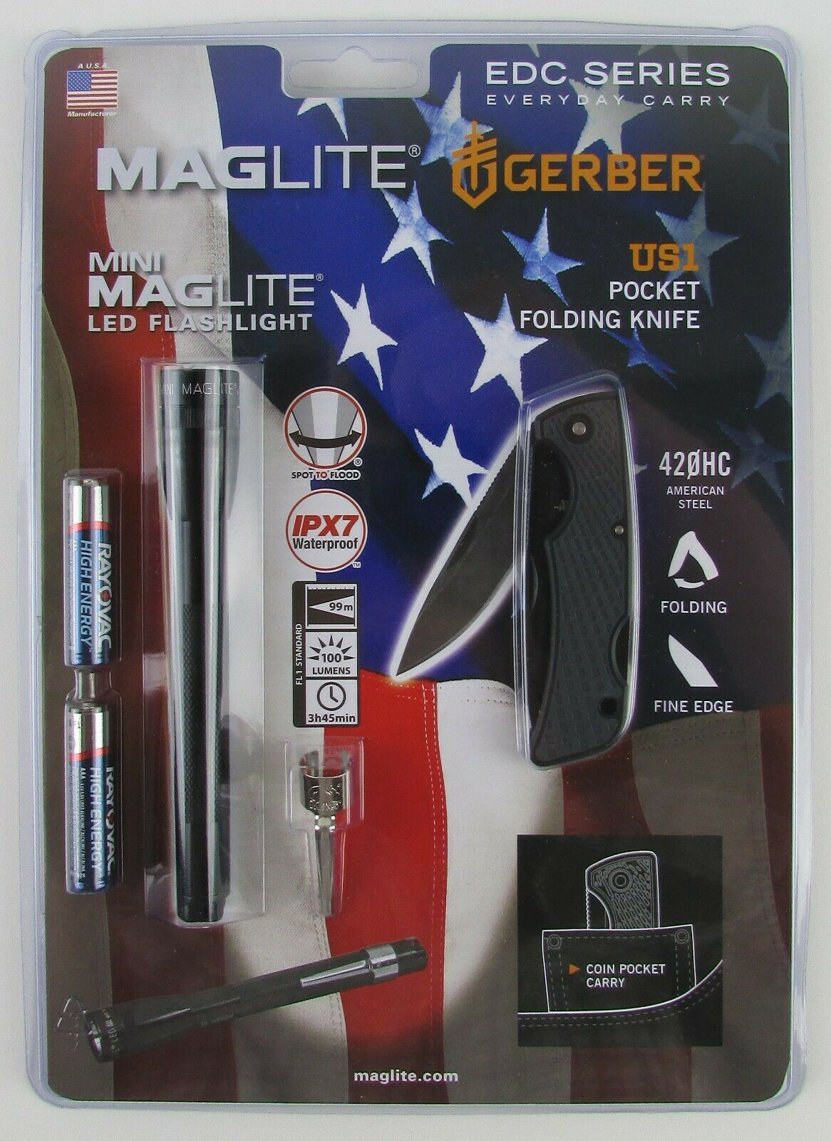 Mini Maglite AAA LED Flashlight IPX7 / Gerber US1 Folding Po