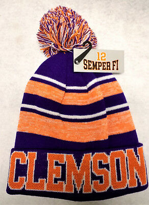 Clemson Tigers Team Color Sideline Replica Pom Pom Knit Beanie Hat - Clemson Tigers Colors
