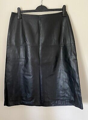 Whistles Leather A-line Skirt, Black, Size 16