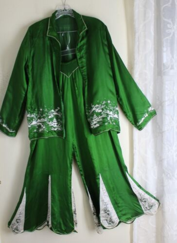 Vintage Chinese Embroidered Silk Charmeuse Pajamas Bellbottom 1970s Lux M L