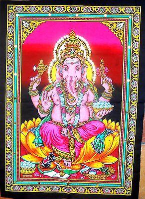 THANGKA Tuch Wandbehang Ganesha GANESH Indien Baumwolle XL 75 x 55 cm Glitzer