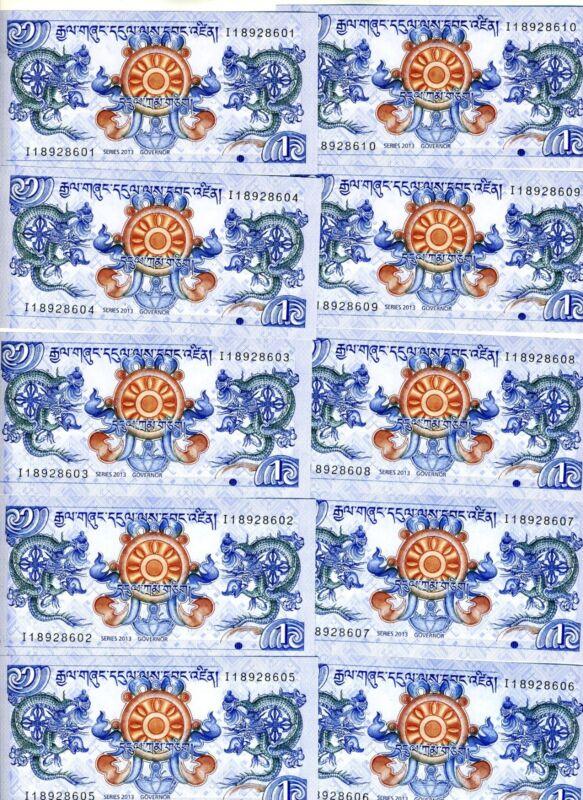 LOT Bhutan, 10 x 1 Ngultrum, 2013 P-New, UNC