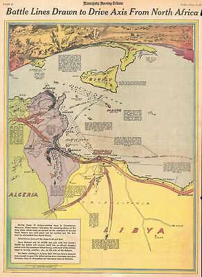 1943 Minneapolis Morning Tribune Map of Allied Offensive in North Africa