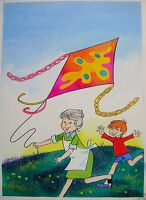 Childrens Illustrations Golden Hours Magazine Cover Kite Flying W/col 1970s -  - ebay.co.uk