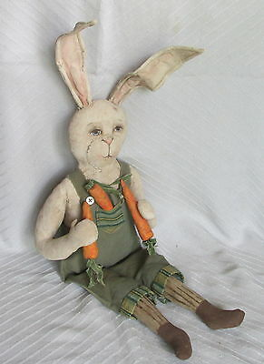 OOAK Cart Before the Horse Hand Made Sewn Painted Easter Mr Rabbit Dressed Doll
