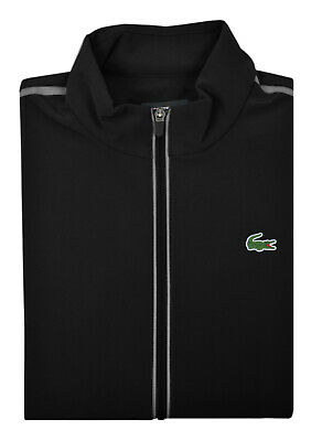 Lacoste Sport Mens Deep Black Gray Reflective 3M Full Zip Sweater Jacket Top