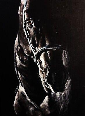 """FRESIAN HORSE equestrian realism 12""""x16"""" original acrylic on canvas by ArtKaska"""