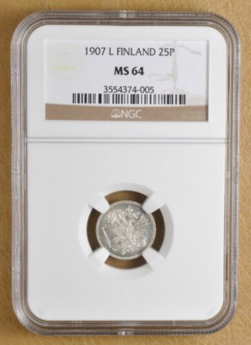 1907 L Finland 25 Pennia NGC MS64