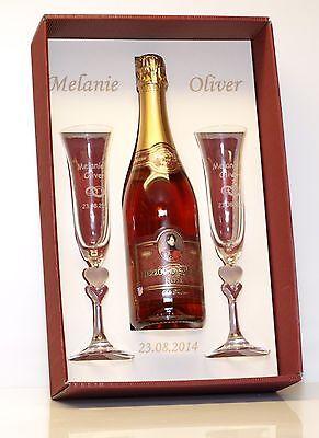 Sektgläser Geschenkarton rot alles mit Gravuren ohne/mit Flasche Rosesekt Flasche Gläser
