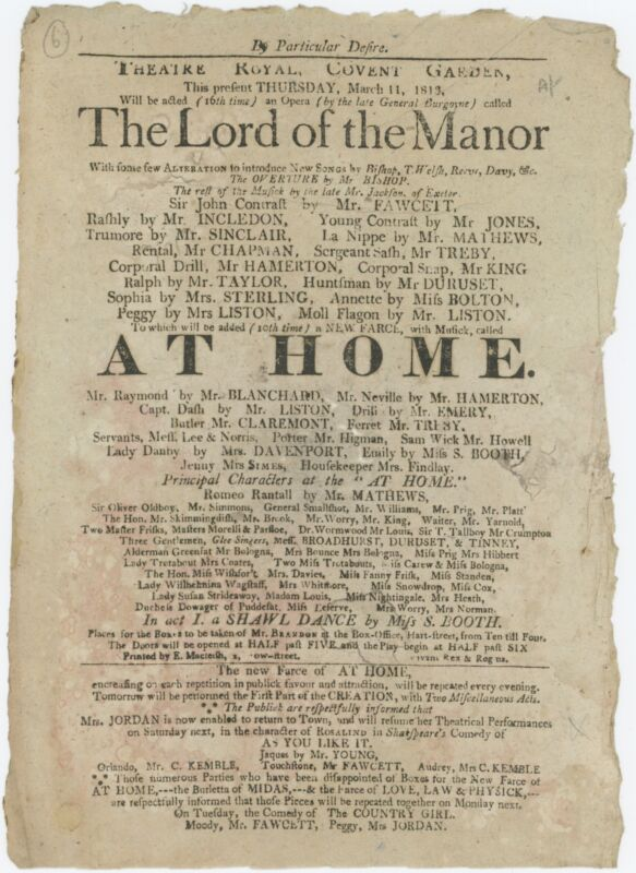 Original 1813 Covent Garden Broadside: HAYDN, BISHOP