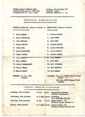 Crystal Palace v Norwich City Reserves Programme 7.12.1971