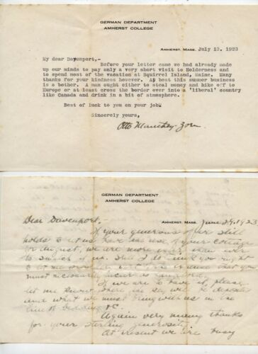 Otto Manthey-Zorn Amherst Professor, Autograph Letters & 1922 Germany in Travail