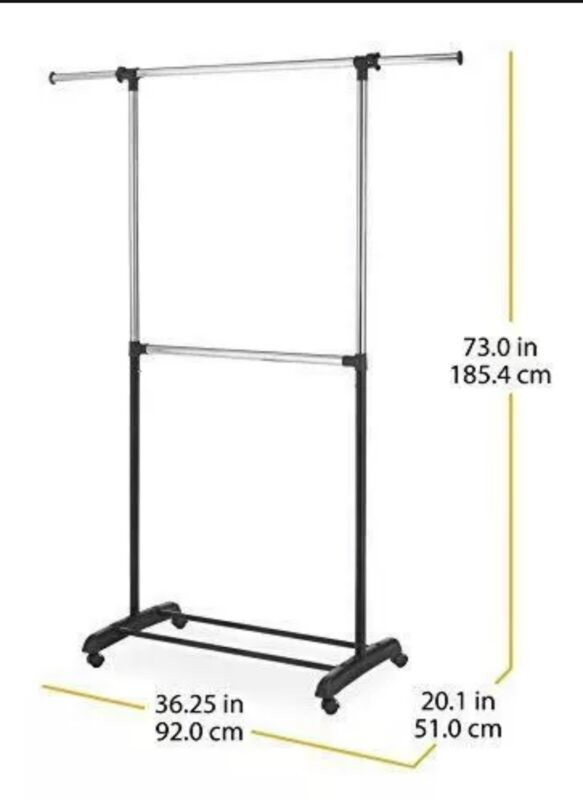 Whitmor Adjustable 2-Rod Garment Rack - Rolling Clothes Organizer - Black and