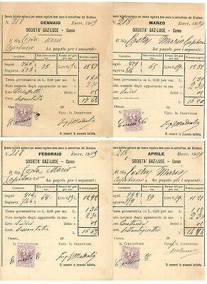 SOCIETA' GAS LUCE CUNEO BOLLETTA QUIETANZA 1909 12 RICEVUTE ANNATA COMPLETA