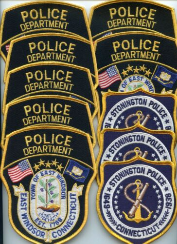 EAST WINDSOR STONINGTON CONNECTICUT Trade Stock 10 Police Patches POLICE PATCH