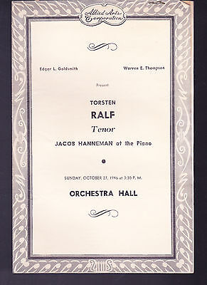 Torsten Ralf Tenor Soloist Recital Program 1946 at Chicago Orchestra Hall