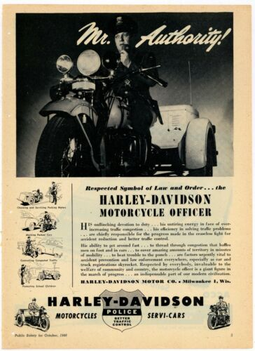 1948 Harley Davidson Police Motorcycles Ad: HD MC Officer - MR. AUTHORITY!