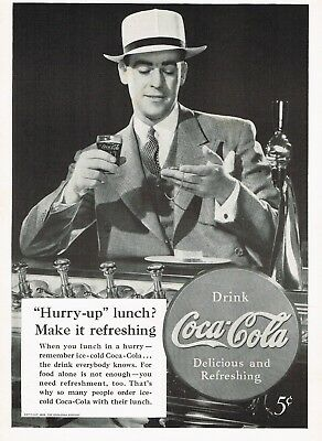 1930s Original Vintage Coca Cola Man At Soda Fountain Fashion Photo Print Ad