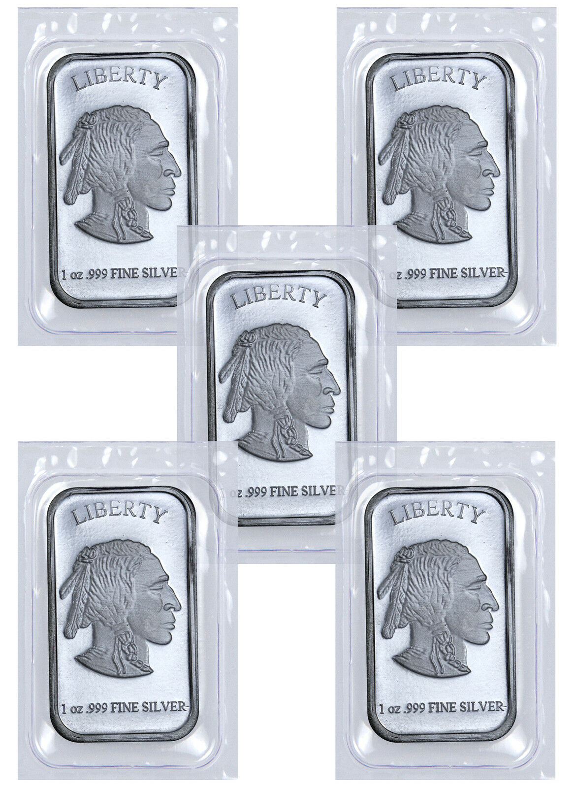 1 Troy Oz .999 Fine Silver Buffalo Liberty Bar - Lot of 5 Bars (Sealed) SKU41777