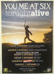YOU ME AT SIX + TONIGHT ALIVE 2014 Australian Tour Poster A2 Cavalier Youth *NEW
