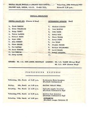 Crystal Palace v Peterborough Utd Reserves Programme 25.2.1970