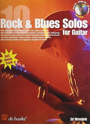 """""""10 ROCK & BLUES SOLOS FOR GUITAR"""" MUSIC BOOK/CD-BRAND NEW ON SALE-BLUES/ROCK!!"""