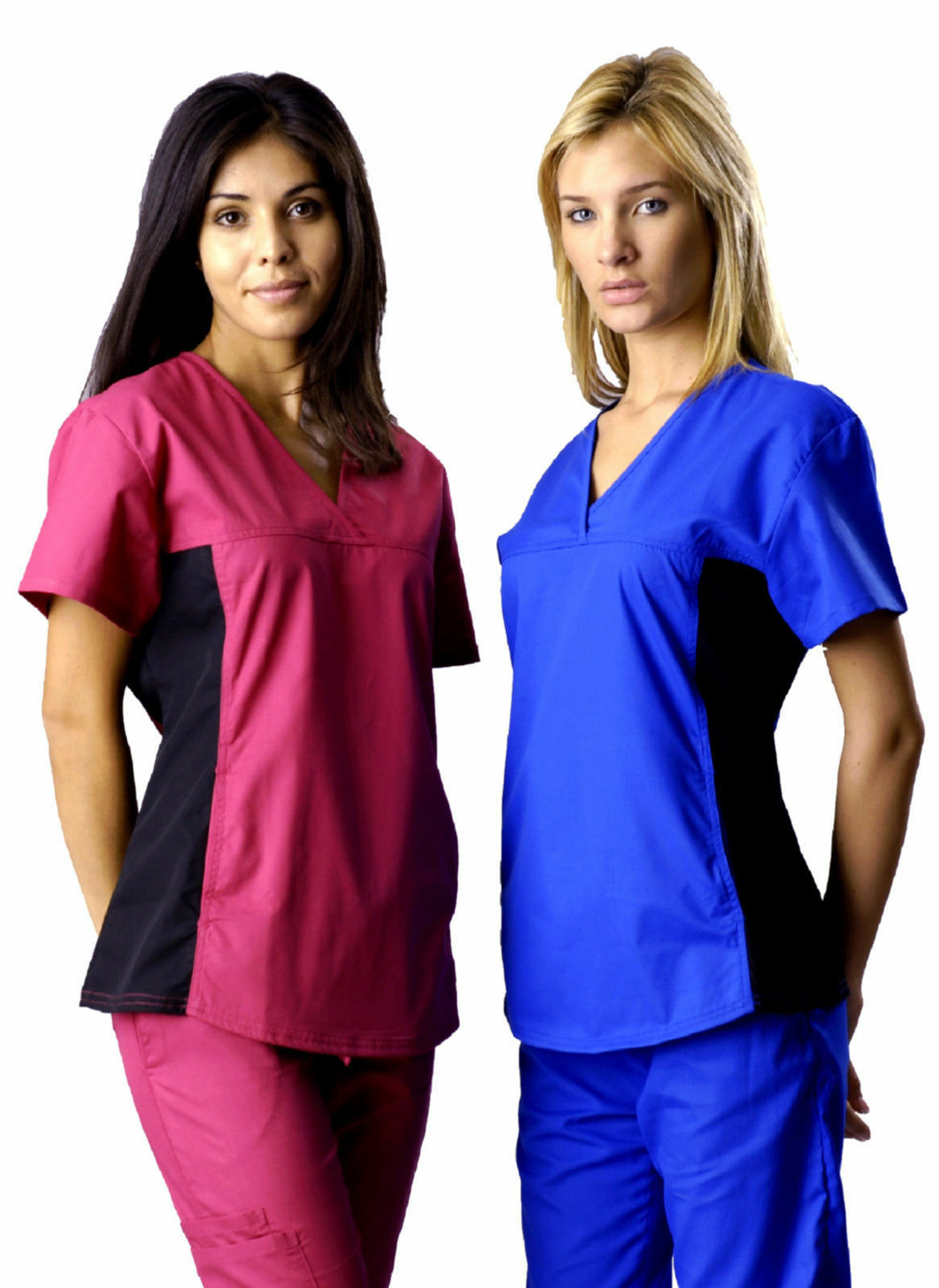 Stylish Womens Nursing Scrub Set w/ Black Stretch Spandex Mu