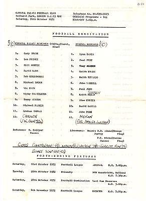 Crystal Palace v Swansea City Reserves Programme 14.10.1972