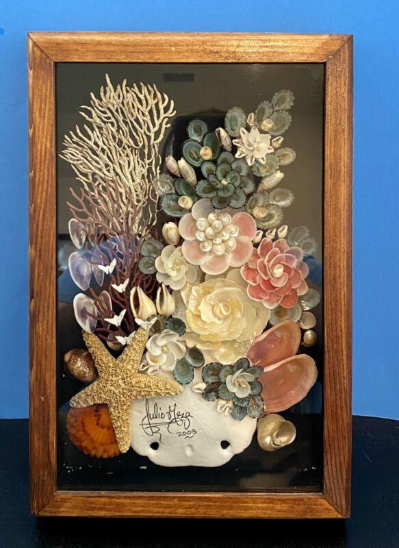 "Julio G Meza Seashell Coral Floral Art Shadow Box Signed 2003 12"" x 8"" x 2.25"""