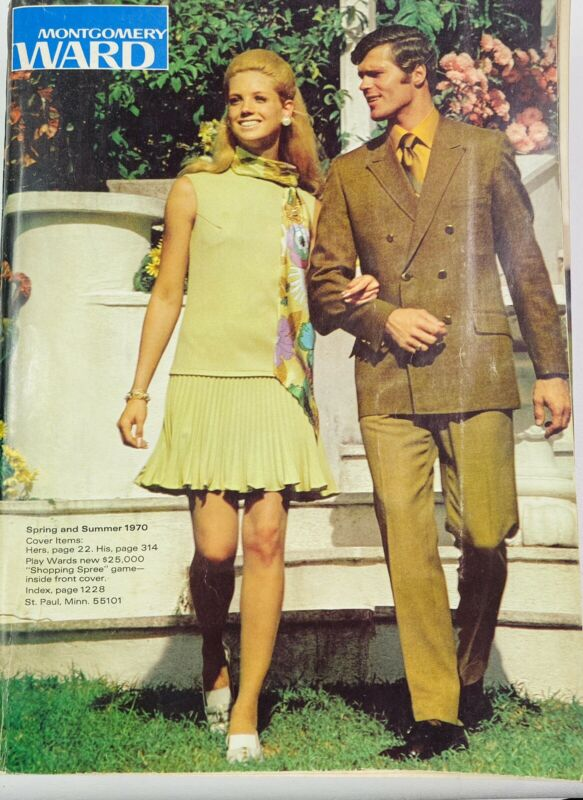 Vintage 70s Montgomery Ward Catalog 1970 Spring Summer Atomic Mod Fashion Linen