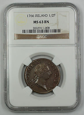 Click now to see the BUY IT NOW Price! 1766 IRELAND 1/2 PENNY COIN GEORGE III NGC MS 63 BN BROWN AKR