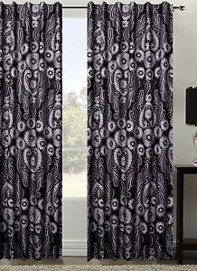 PAIR of BATIK Black Sunout Concealed Tab Top Curtains 240cm x 213cm NEW