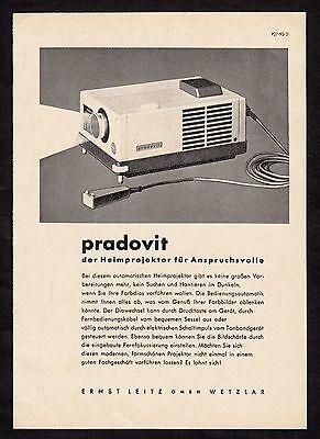 3w1685/ Alte Reklame von 1960 - PRADOVIT Diaprojektor aus dem Hause LEITZ