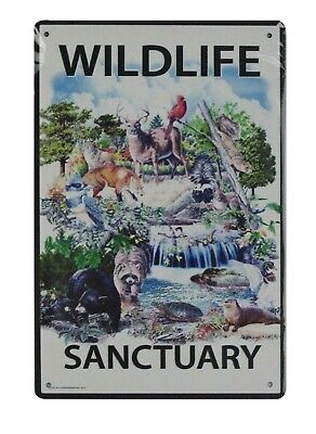 US SELLER, Wildlife Sanctuary tin metal sign home decor wall accessories