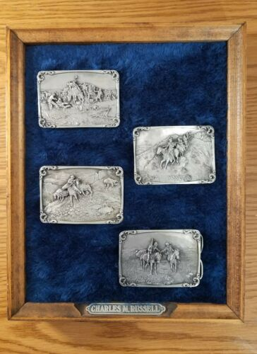 Charles M Russel Limited Edition 4 Piece Belt Buckle Set with Presentation Frame