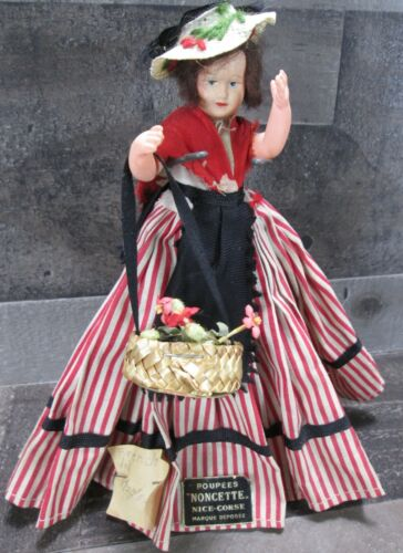 """Celluloid French Doll Noncette 5"""" Jointed Poupees 1950s Flower Basket Vintage"""