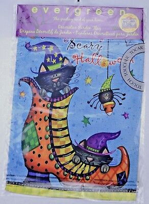 Evergreen Two Sided Scary Halloween Garden Flag 12.5 x 18 Witch Shoe Black Cat  - Scary Halloween Shoes