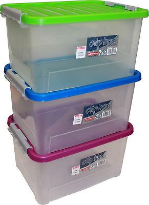 3 Stk. Heidrun Clipbox + Deckel 25 Liter 44x32x23cm Aufbewahrungsbox Stapelkiste