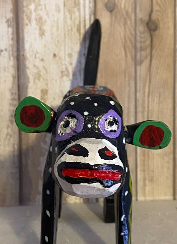 Guatemalan Carved And Painted Monkey And Goat Folk Art Colorful